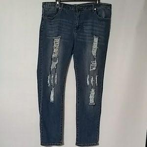 VIP Jeans Distressed sz 17/18 Medium dark wash